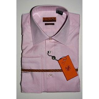 Men's Pink Tonal Striped French Cuff Dress Shirt