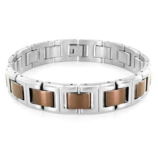 Stainless Steel Brown-coated Link Bracelet