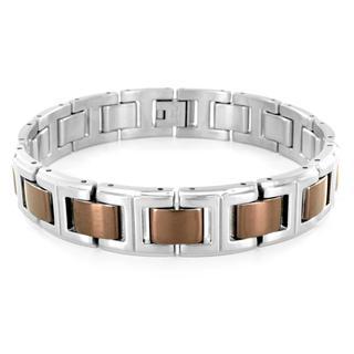 Stainless Steel Brown-coated Link Bracelet