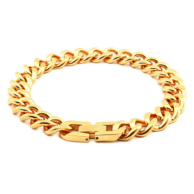 Goldplated Stainless Steel Curb Link Bracelet (10 mm)
