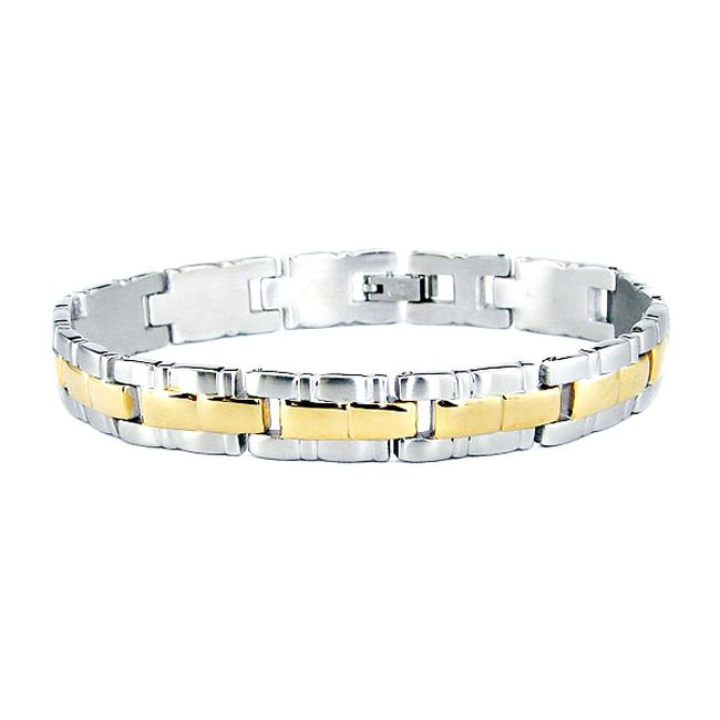 18k Goldplated and Stainless Steel Link Bracelet