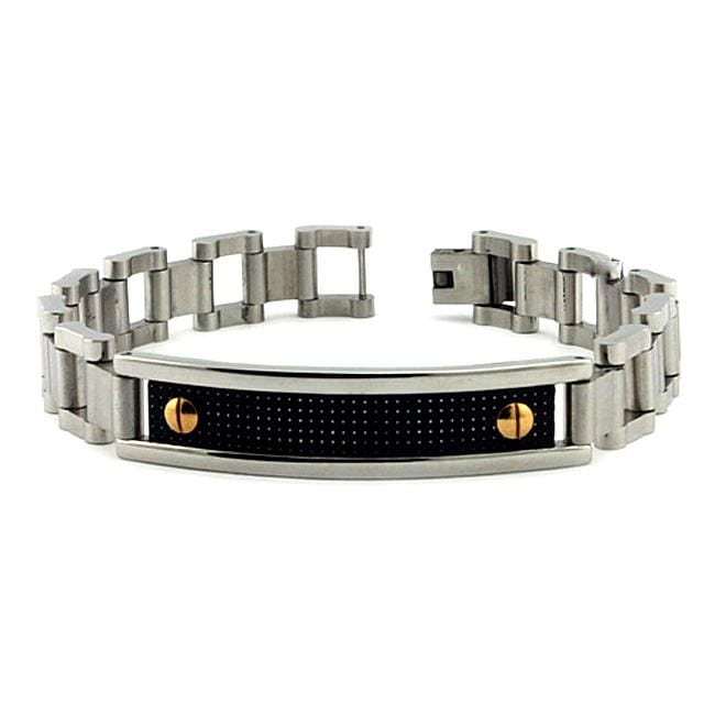 Stainless Steel Carbon Fiber Inlay ID Bracelet
