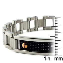 Stainless Steel Carbon Fiber Inlay ID Bracelet - Thumbnail 2