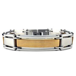 Stainless Steel and Goldplated Men's Link Bracelet