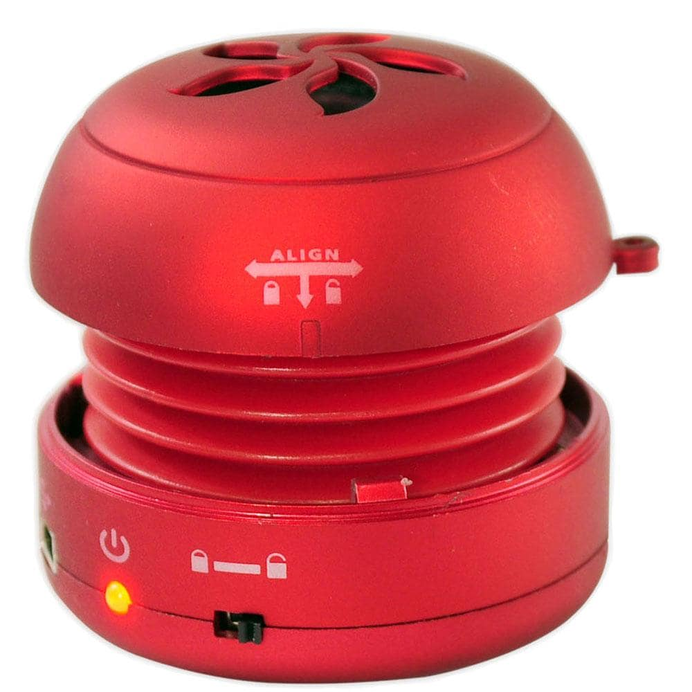 Pyle Bass Expanding Red Rechargeable Mini Speaker for iPo...