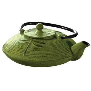 Myst Green 28-ounce Cast Iron Dragonfly Tea Pot