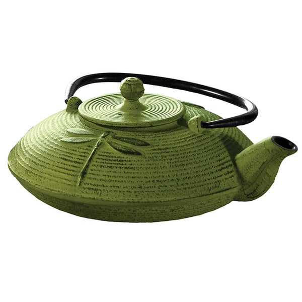 Myst Green 28-ounce Cast Iron Dragonfly Tea Pot