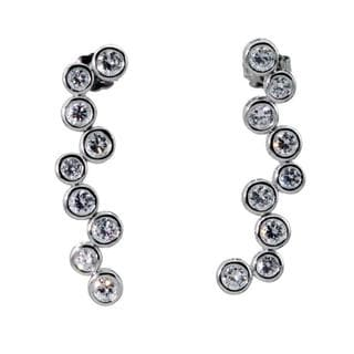 NEXTE Jewelry Silvertone Free-form Cubic Zirconia Dangle Earrings