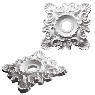 Single Square Parisian Scroll White 18-inch Ceiling Medallion