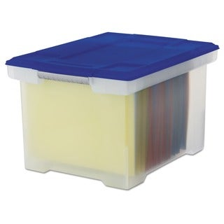 Storex Storage File Tote with Comfort Grips, Clear/Blue, 4-Pack