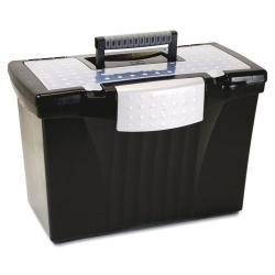 Storex Black Portable File with Organizer Lid