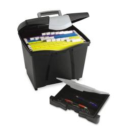 Storex Black Portable File with Drawer