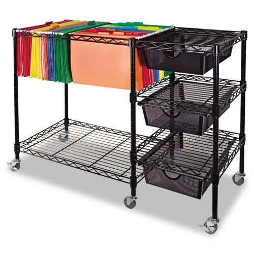 Black Advantus Mobile Three-drawer Steel-frame Suspension File Cart