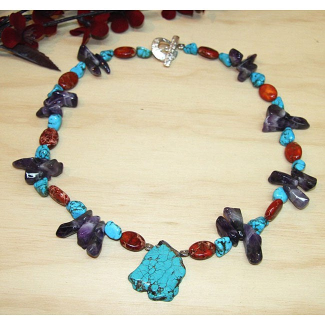 Silverplated 'Spiritual Journey' Amethyst and Turquoise Necklace