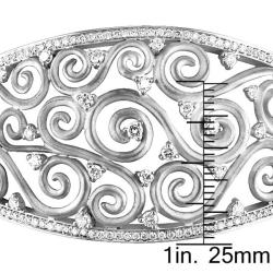 Miadora 14k White Gold 4 1/5ct TDW Diamond Cuff Bracelet