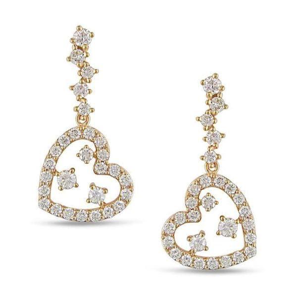 Shira Design 18k Pink Gold 1/2ct TDW Diamond Heart Earrings (G-H, VS1-VS2)