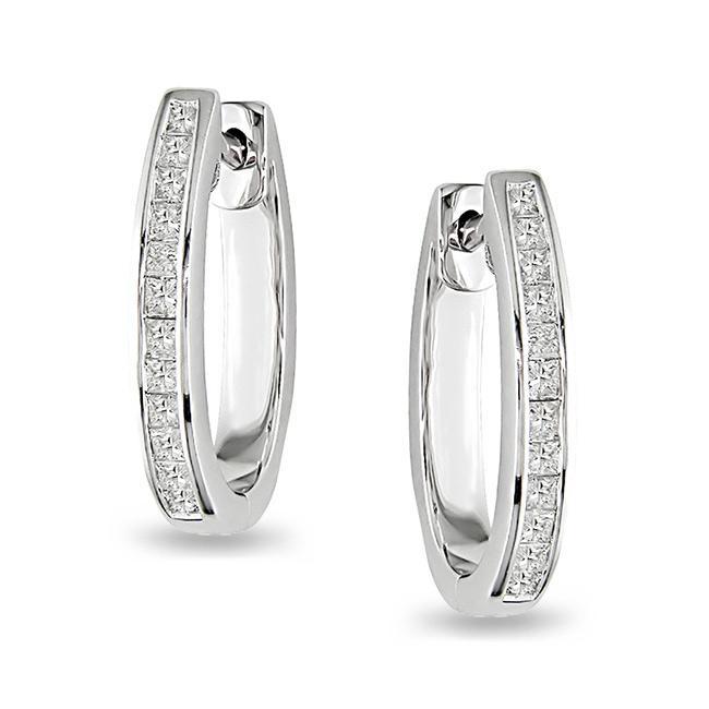 Miadora 14k White Gold 1ct TDW Diamond Hoop Earrings