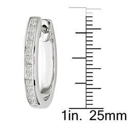 Miadora 14k White Gold 1ct TDW Diamond Hoop Earrings - Thumbnail 2