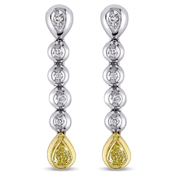 Miadora Signature Collection 18k White Gold 3/5ct TDW Yellow and White Diamond Earrings (G-H, SI1-SI2)