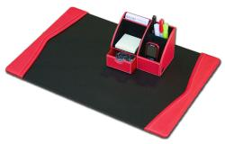 Dacasso Red Leather 2-piece Desk Set - Thumbnail 2