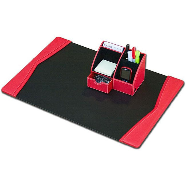 Dacasso Red Leather 2-piece Desk Set