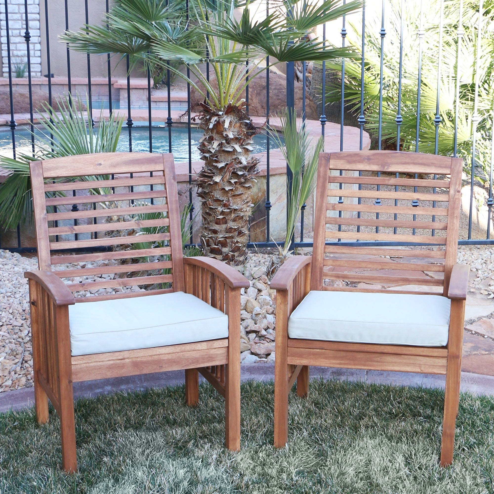 Superbe Acacia Wood Patio Chairs (Set Of 2)
