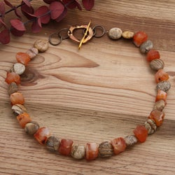 Goldplated 'Walk in the Woods' Jasper and Carnelian Necklace