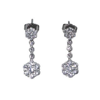NEXTE Jewelry Silvertone Cubic Zirconia Flower Motif Dangle Earrings