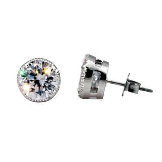 NEXTE Jewelry Silvertone Cubic Zirconia Large Serrated Stud Earrings