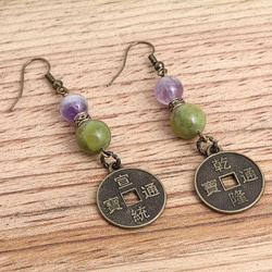 Brass-plated Orient Express Amethyst and Jade Earrings