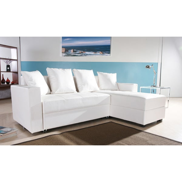 San jose white convertible sectional storage sofa bed for Sectional sofa bed overstock