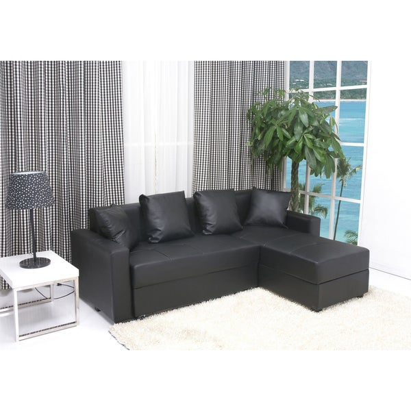 Shop San Jose Black Convertible Sectional Storage Sofa Bed