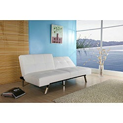 Jacksonville White Foldable Futon Sofa Bed - Thumbnail 1