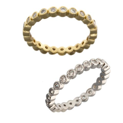 NEXTE Jewelry Silvertone or Goldtone Circles in Circles Eternity Band