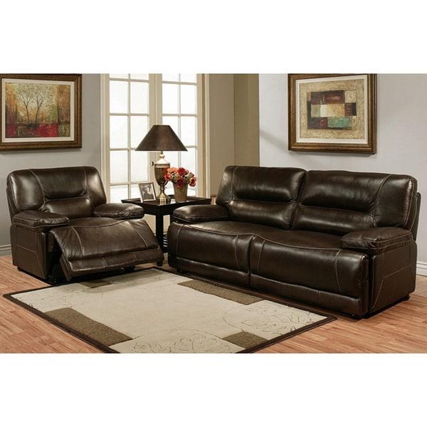Abbyson Living Barrington Premium Top Grain Leather Sofa And Recliner Set