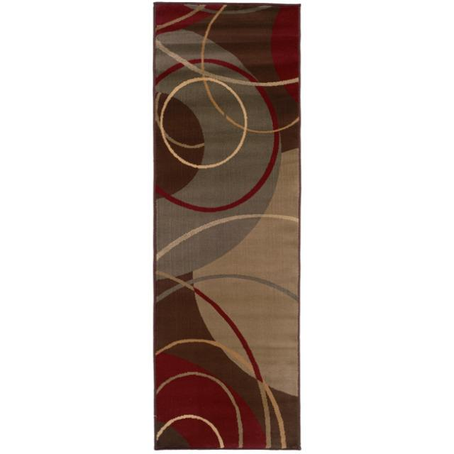 Enchanting Circles Brown/ Red Area Rug (2'6 x 7'9)