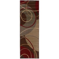 Enchanting Circles Brown/ Red Area Rug (2'6 x 7'9)