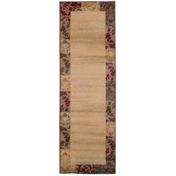 "Indoor Beige Border Runner Rug (2'6"" x 7'9"")"