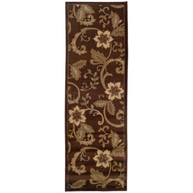 "Indoor Casual Brown Floral Rug (2'6"" x 7'9"")"