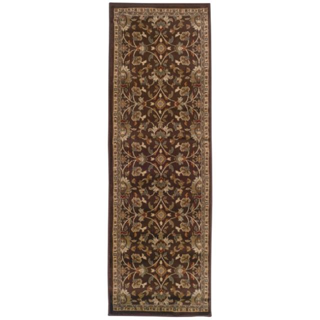 Indoor Brown Floral Rug (2'6 x 7'9)