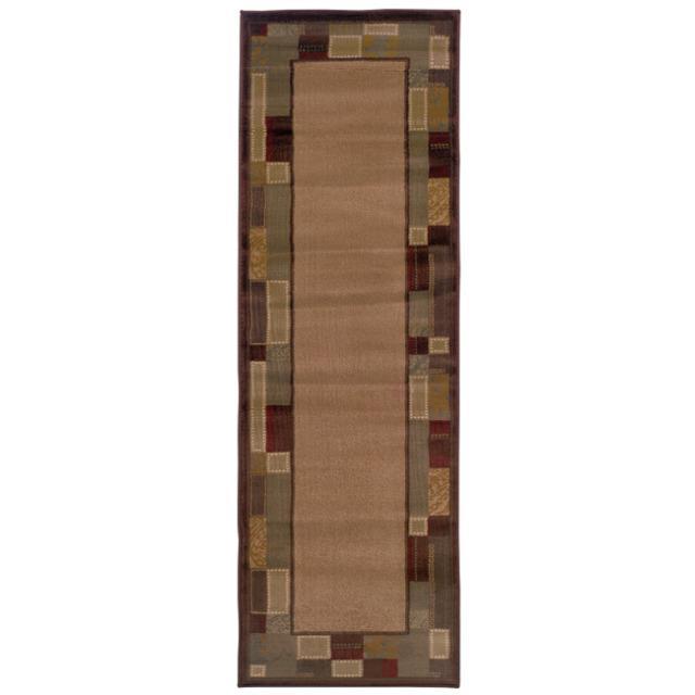 Indoor Beige Border Rug (2'6 x 7'9)