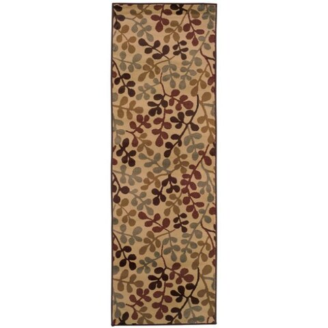 "Indoor Beige Abstract Rug (2'6 x 7'9) - 2'6"" x 7'9"" Runner"