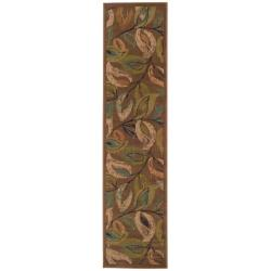 Indoor Brown Abstract Runner Rug (1'10 x 7'6)