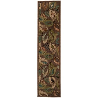 "Indoor Brown Abstract Runner Rug - 1'10"" x 7'6"""