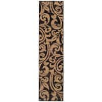 Indoor Black/Brown Abstract Rug (1'10 x 7'6)