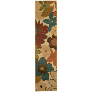 Indoor Ivory Floral Rug (1'10 x 7'6)