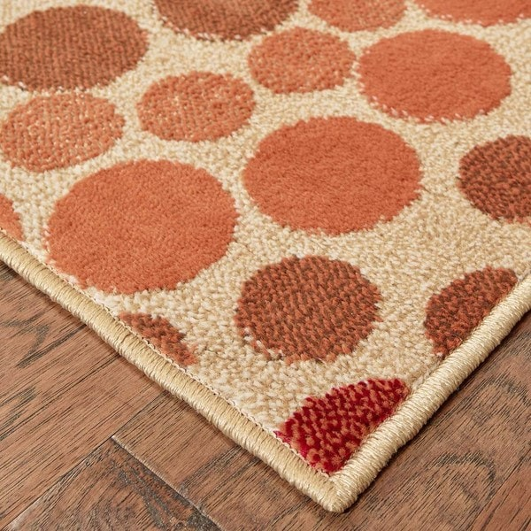Indoor Beige Abstract Runner Rug (1'10 x 7'6)