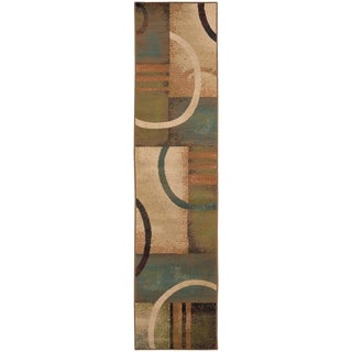 Indoor Beige Abstract Rug (1'10 x 7'6)