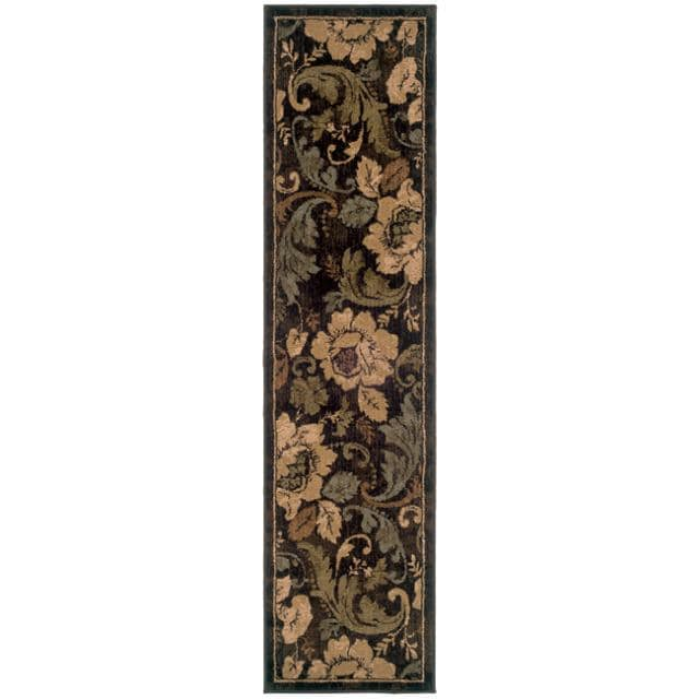 Indoor Brown Floral Rug (1'10 x 7'6)
