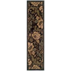 Indoor Brown Floral Rug (1'10 x 7'6)
